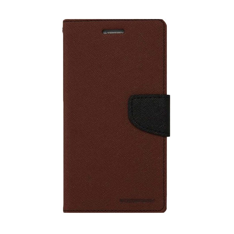 Mercury Goospery Fancy Diary Brown Black Casing for Xiaomi Redmi 1S