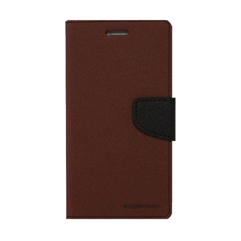 Mercury Goospery Fancy Diary Brown Black Casing for Xperia Z