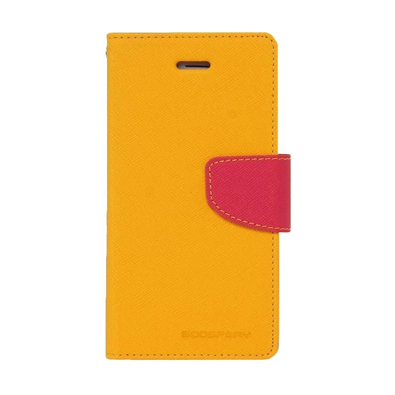 Mercury Goospery Fancy Diary Yellow Hotpink Casing for Galaxy Core 2