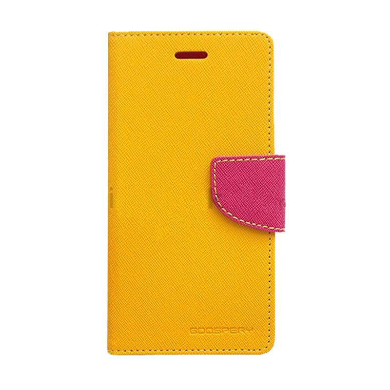 Mercury Goospery Fancy Diary Yellow Hotpink Casing for Galaxy E5