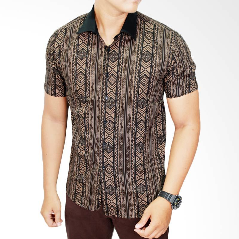 Gudang Fashion BAT 556 Lengan Pendek Katun Multi Colour Batik Pria
