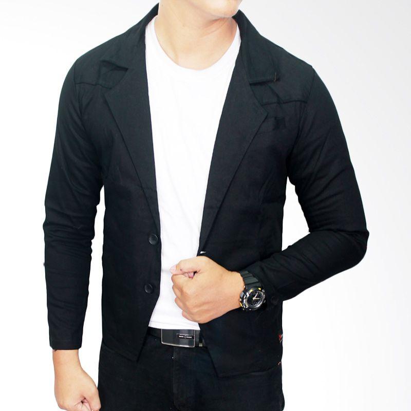 Gudang Fashion BLZ 614 Semi Formal Katun Hitam Blazer Pria
