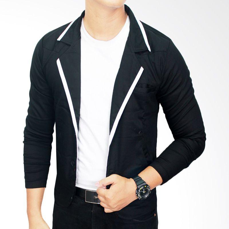 Gudang Fashion BLZ 615 Semi Formal Katun Hitam Blazer Pria