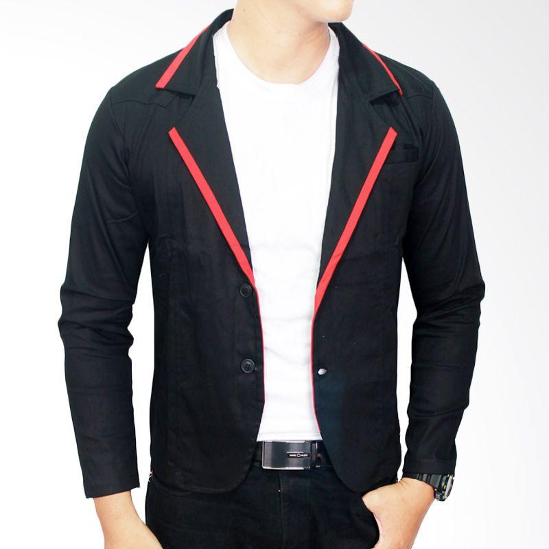 Gudang Fashion BLZ 616 Semi Formal Katun Hitam Blazer Pria