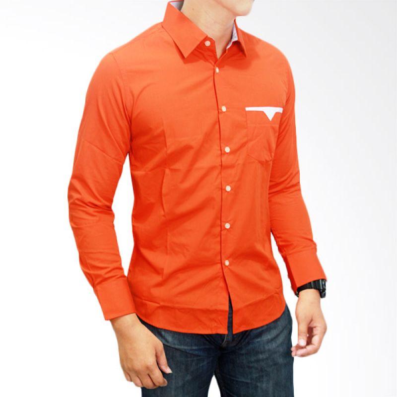 Gudang Fashion Casual Slim Fit Katun Orange Kemeja Pria