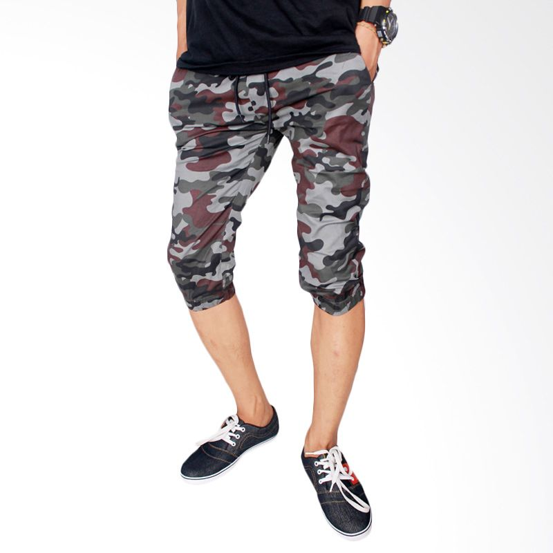 Gudang Fashion CLN 681 Jogger Stretch Loreng Celana Pendek Pria