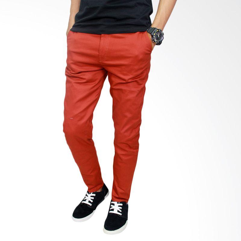 Gudang Fashion CLN 721 Chino Pants Slim Fit Stretch Merah Celana Panjang Pria