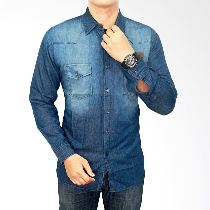Gudang Fashion Denim Soft Jeans LNG 1476 Biru Kemeja Pria