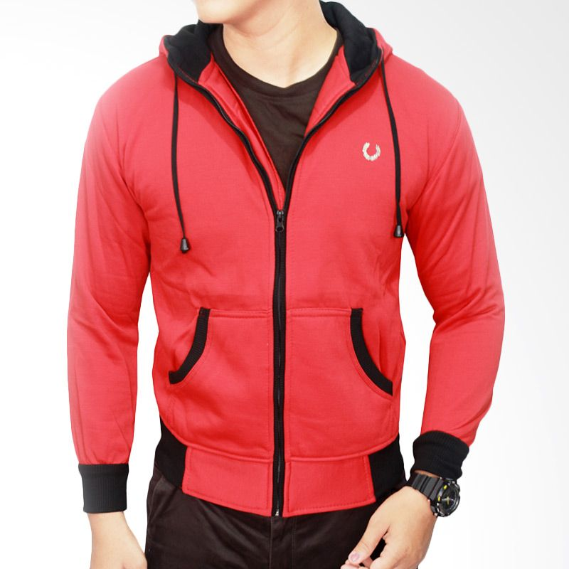 Gudang Fashion Distro Fleece JAK 1677 Merah Jaket Pria