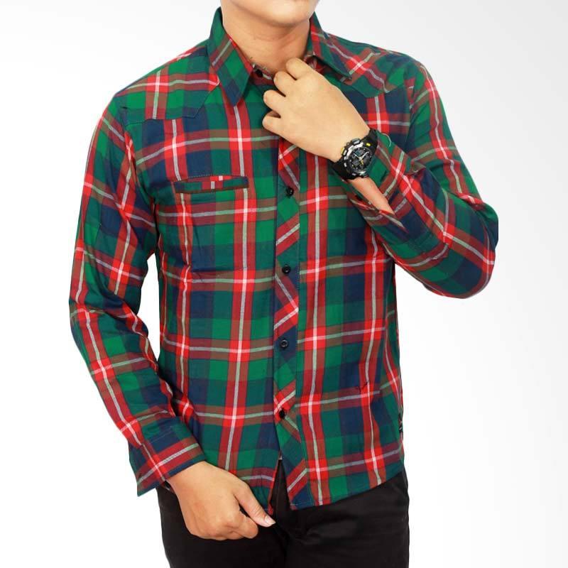 Gudang Fashion Flannel Style Kombinasi Kemeja Pria