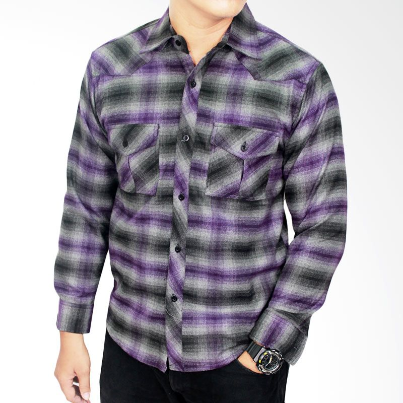 Gudang Fashion Flannel Style Ungu Kombinasi LNG 1482 Kemeja Pria