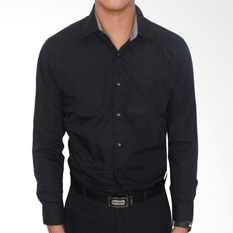 Gudang Fashion Formal Katun Hitam Kemeja Pria