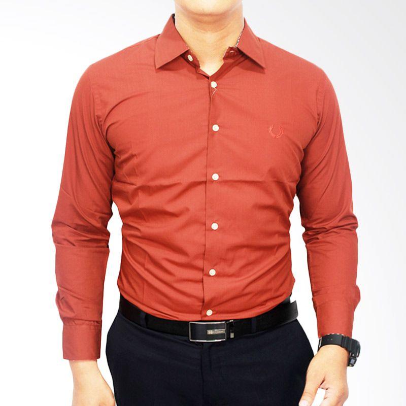 Gudang Fashion Formal Katun Merah Tua Kemeja Pria
