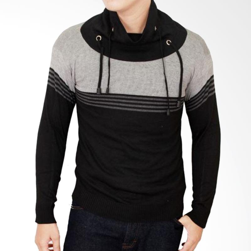 Gudang Fashion Harajuku Keren Rajut SWE 705 Sweater Pria - Black Grey