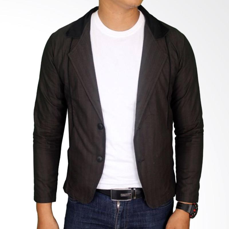 Gudang Fashion BLZ 756 Jaket Jas Katun Blazer Pria - Black