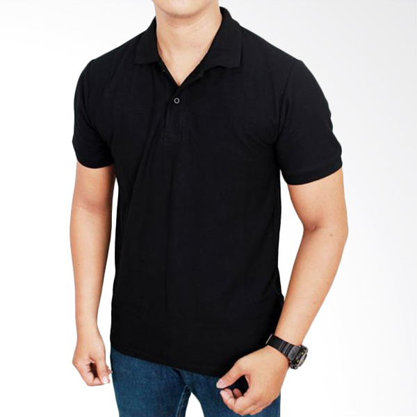 Gudang Fashion Kaos Polos Kerah POL 53 Hitam Atasan Pria Extra diskon 7% setiap hari Extra diskon 5% setiap hari