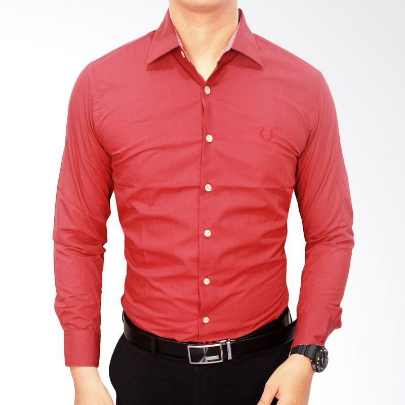 Gudang Fashion Kantoran Katun Merah Kemeja Pria