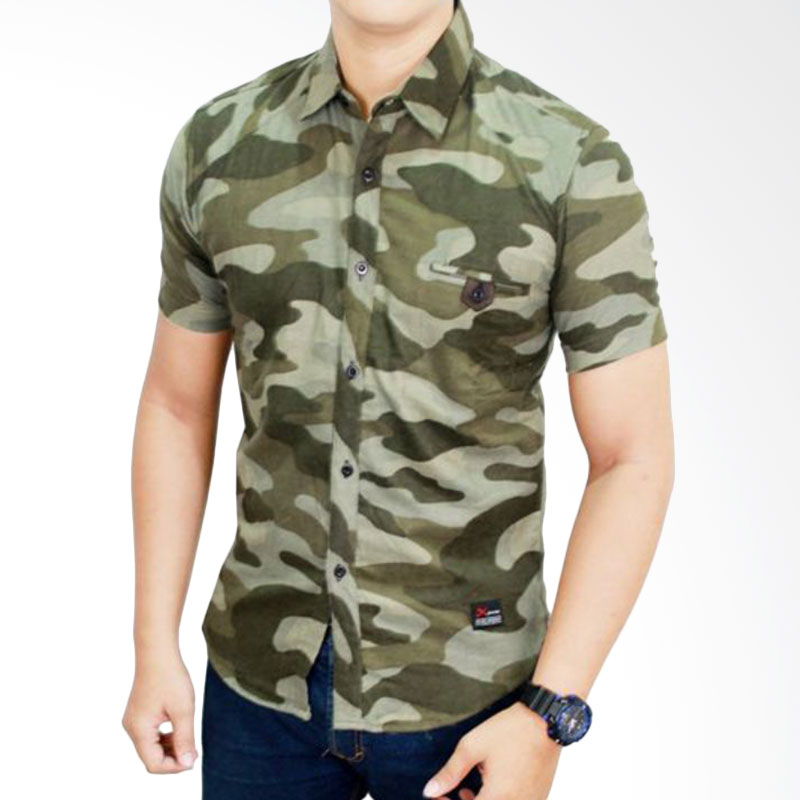 harga Gudang Fashion Model Tentara SHT 618 Green Kemeja Blibli.com