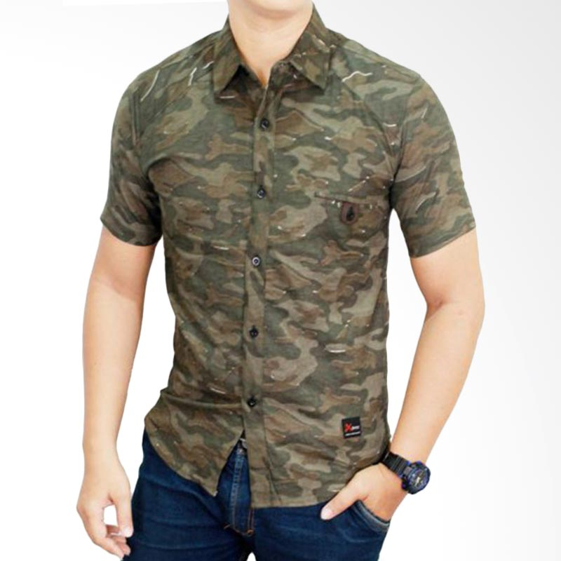 harga Gudang Fashion Model Tentara SHT 619 Green Kemeja Pria Blibli.com