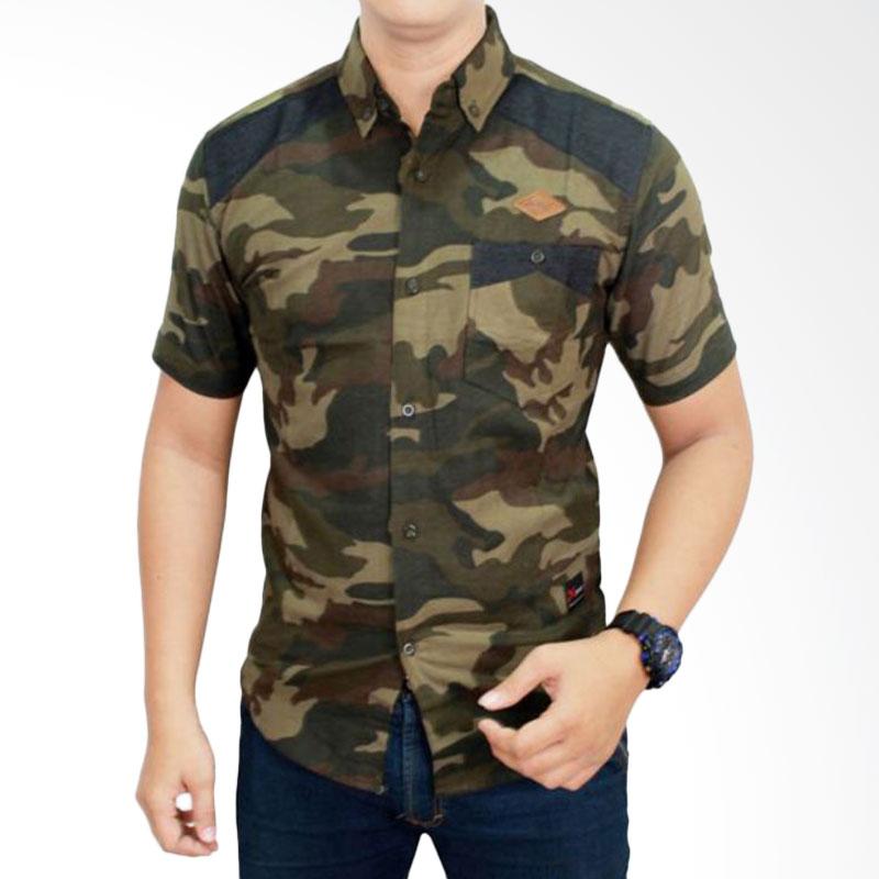 harga Gudang Fashion Model Loreng Tentara SHT 623 Green Kemeja Pria Blibli.com