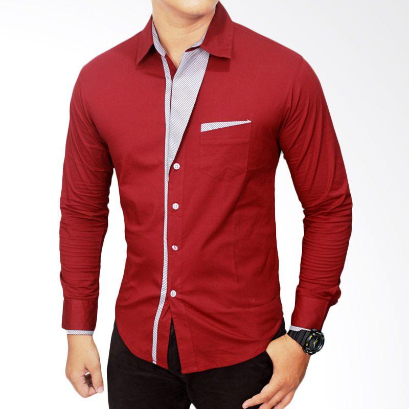 Gudang Fashion Korea Katun LNG 1407 Merah Kemeja Pria