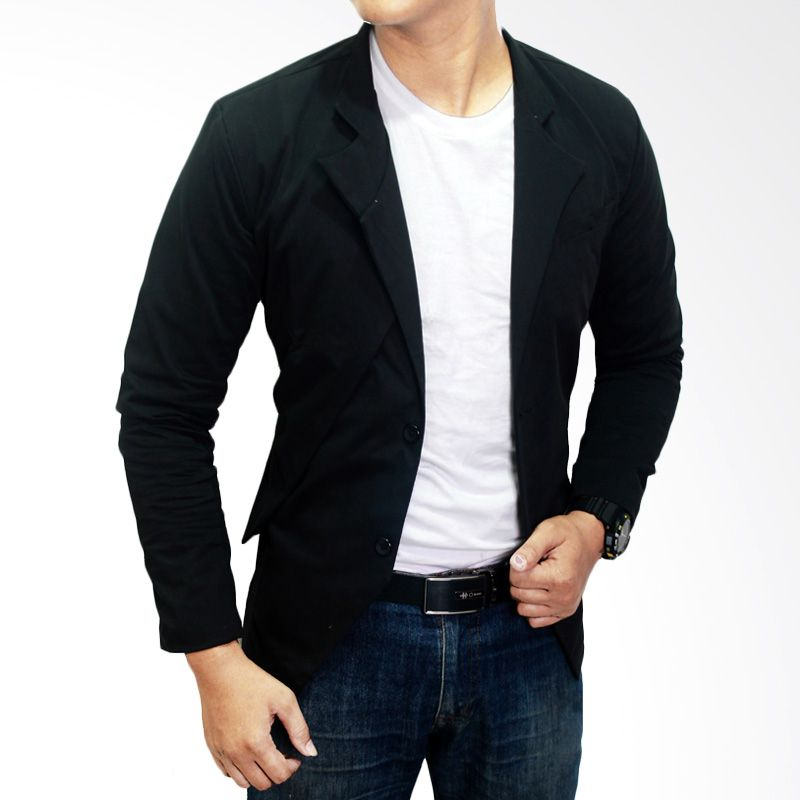 Jual Gudang Fashion Korean Slim Fit BLZ 582 Hitam Blazer