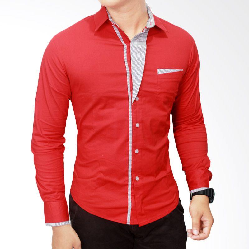 Gudang Fashion LNG 1214 Slimfit Korea Katun Merah Kemeja Pria