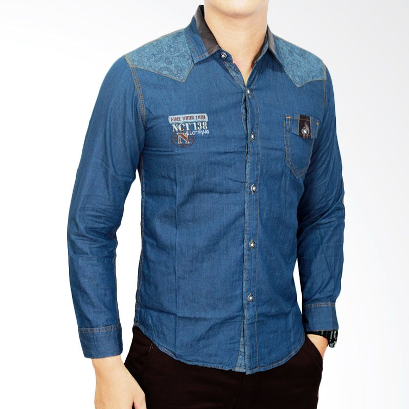 Gudang Fashion LNG 1492 Biru Tua Kemeja Jeans Pria