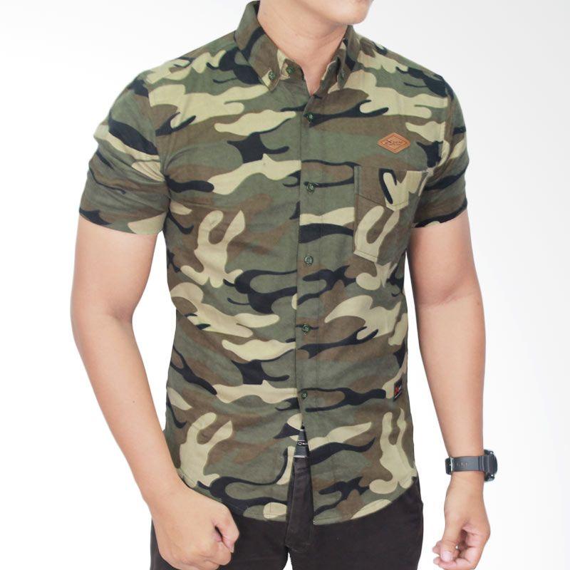 Gudang Fashion Flannel Outfits Loreng SHT 496 Kemeja Pria
