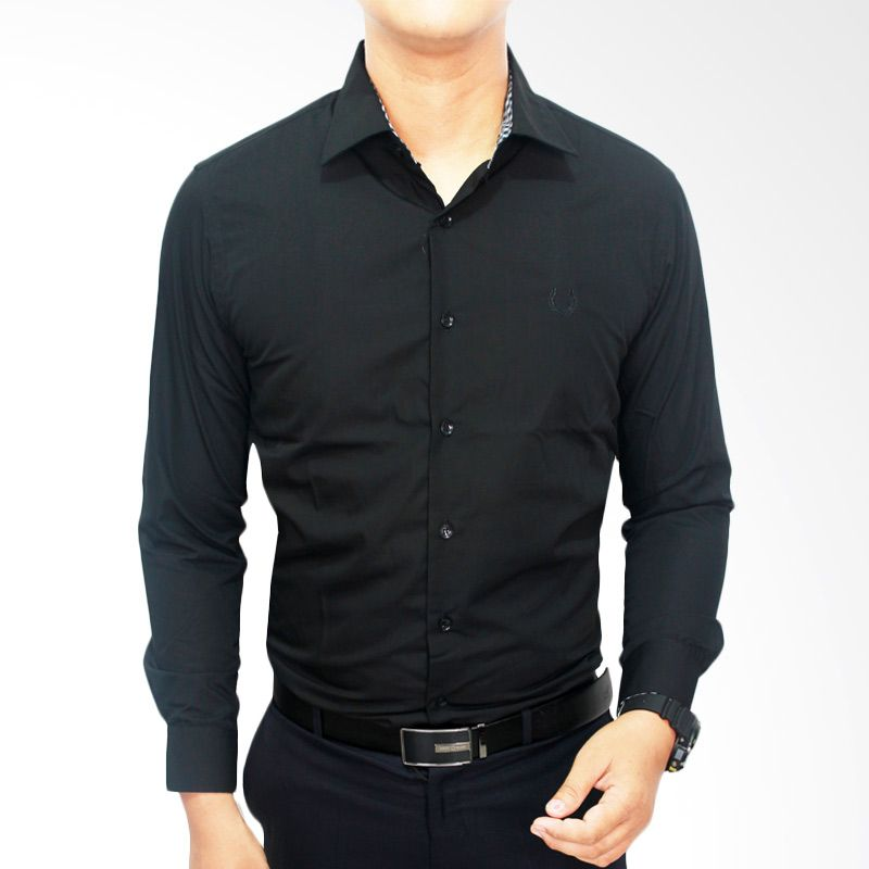Gudang Fashion Modern Katun LNG 1445-M Hitam Kemeja Pria