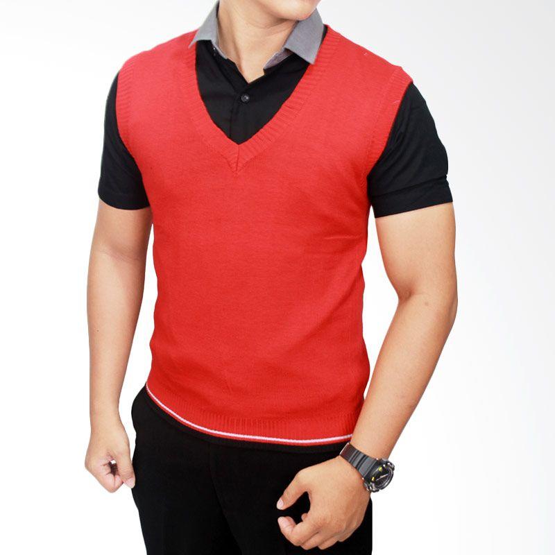 Gudang Fashion Rajut Merah-ROM 308 Rompi Pria