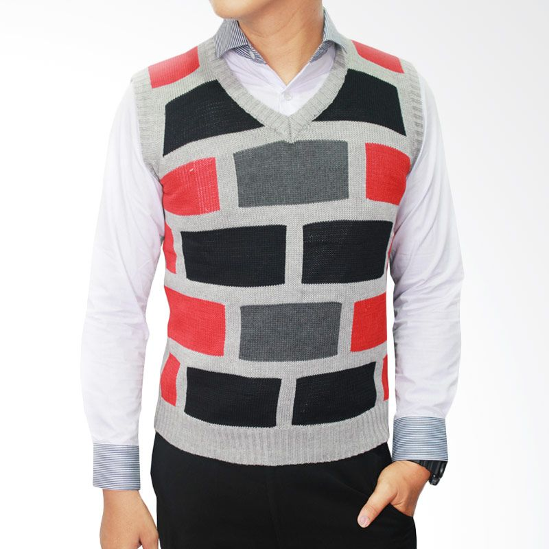 Gudang Fashion ROM 286 Knit Rajut Kombinasi Warna Rompi Pria