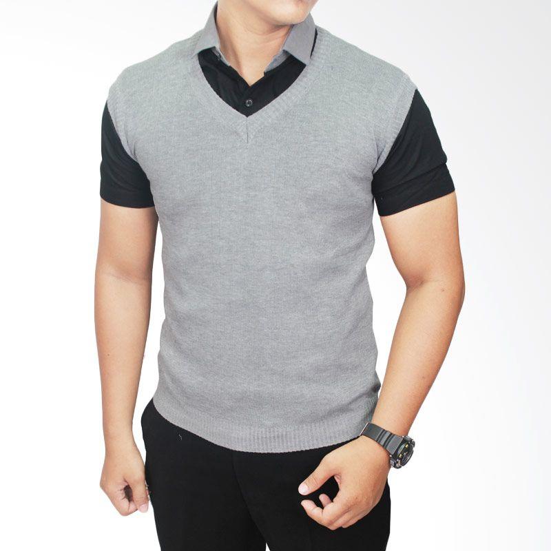 Gudang Fashion ROM 303 Vest Outfits Rajut Abu Muda Rompi Pria