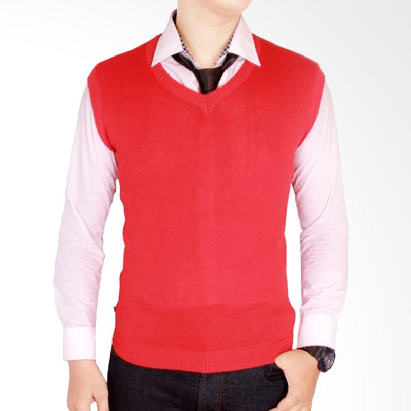 Jual Gudang Fashion Rom 437 Polos Rompi Rajut Pria Red