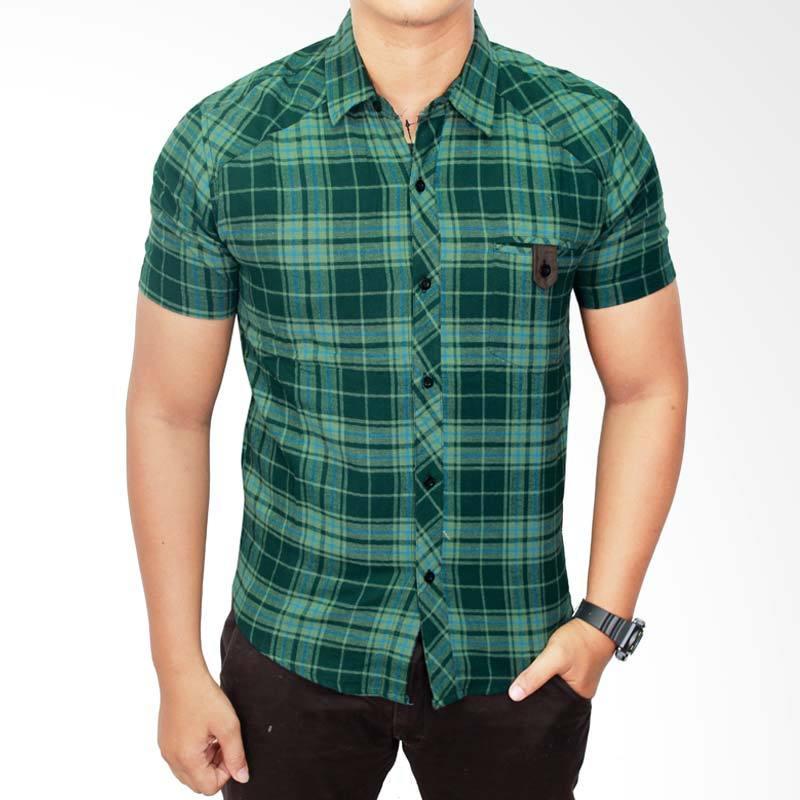 Gudang Fashion Flannel SHT 484 Hijau Kemeja Pria