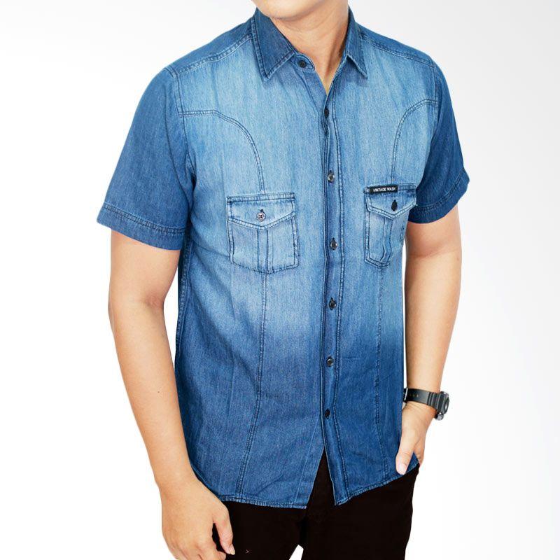 Gudang Fashion SHT 499 Biru Tua Kemeja Jeans Pria