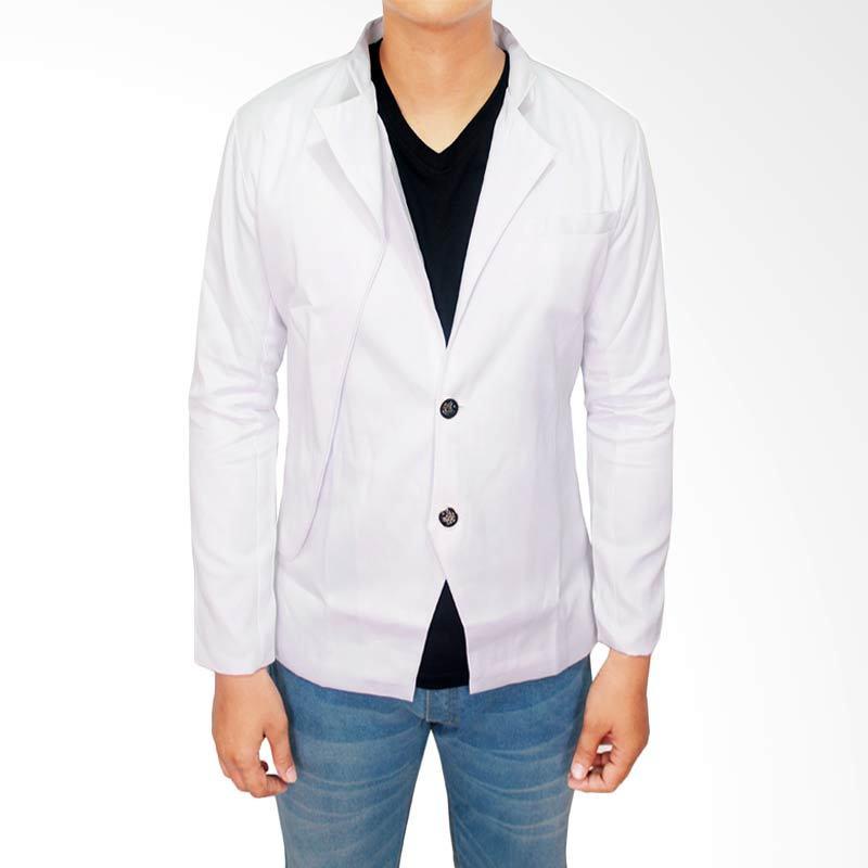 Gudang Fashion Slim Fit Korea Katun Putih Blazer