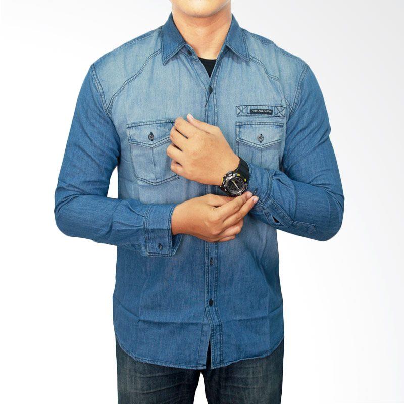 Gudang Fashion Soft Jeans LNG 1473 Biru Kemeja Pria