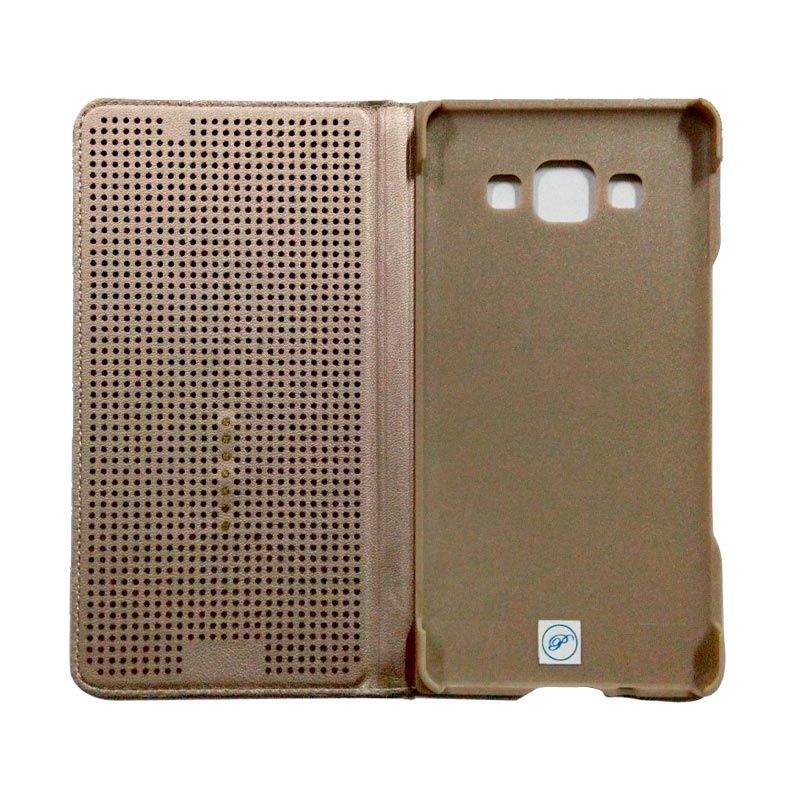 Smart Touch Brown Flip Cover Casing for Samsung Galaxy E5