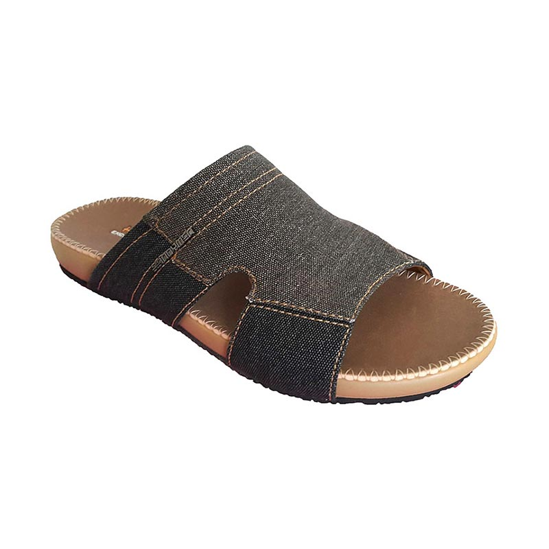 Handymen PU 01 Denim Leather Sandal Pria - Brown Black