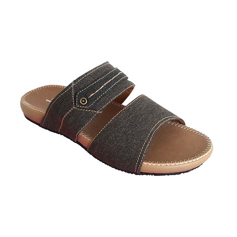 Handymen PU 03 Denim Leather Sandal Pria - Brown Black