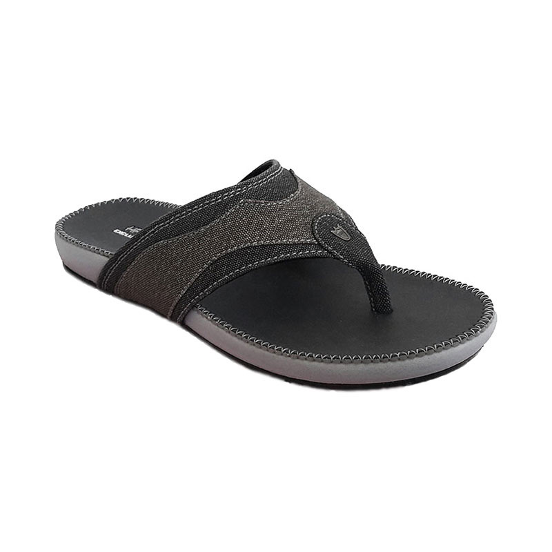 Handymen PU 04 Denim Leather Sandal Pria - Black Brown