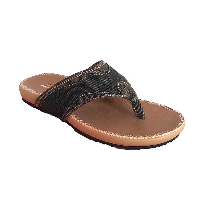 Handymen PU 04 Denim Leather Sandal Pria - Brown Black