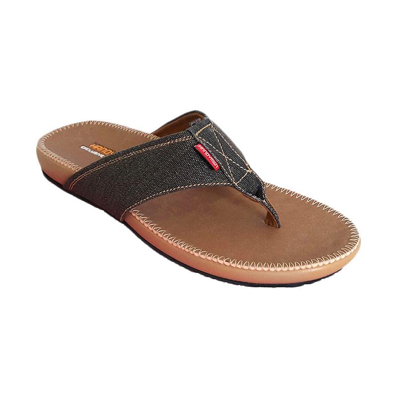 Handymen PU 05 Denim Leather Sandal Pria - Brown Black