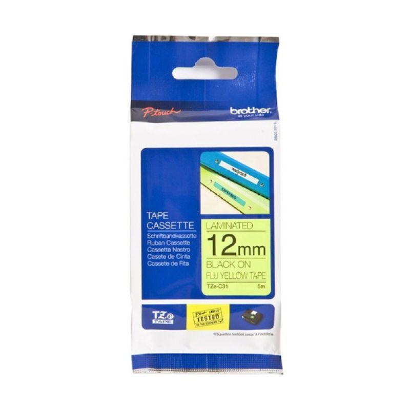 Brother Label Tape TZE-C31 Black On Flu Yellow Pita Printer [12 mm]
