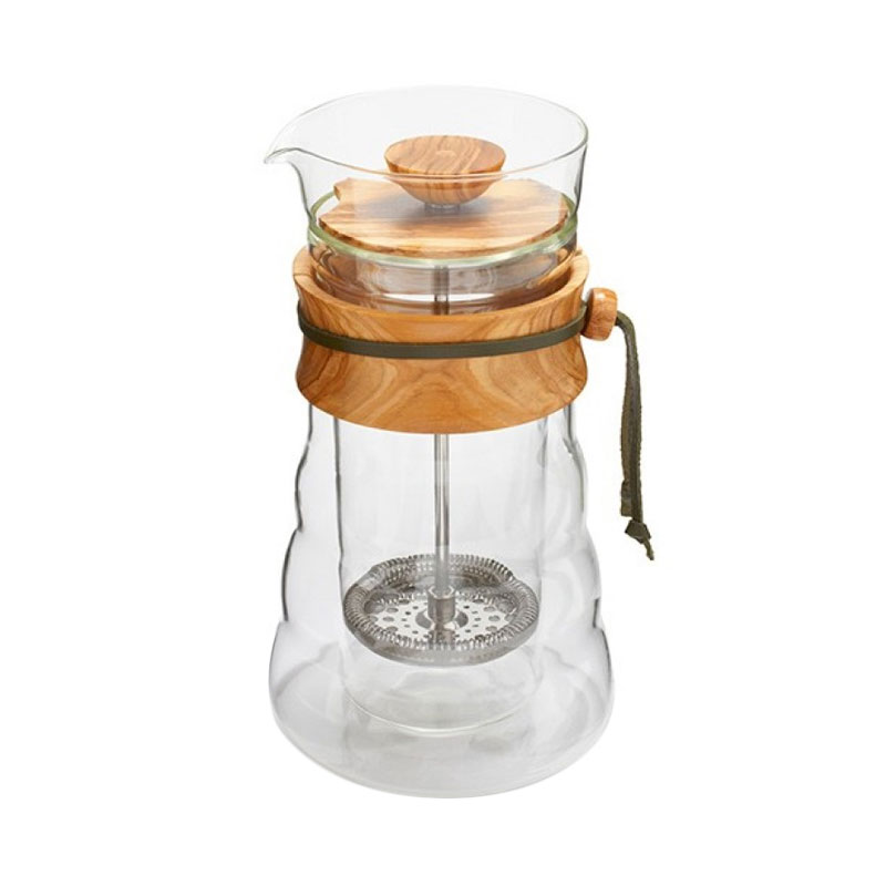 Hario Double Wall Cafe Press Olive Wood [400 mL]