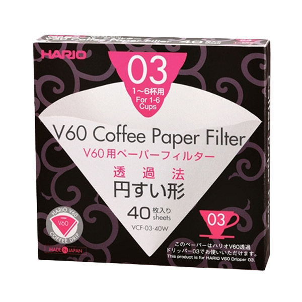 Hario V60 Filter Paper White 03 Dripper [40 pcs]