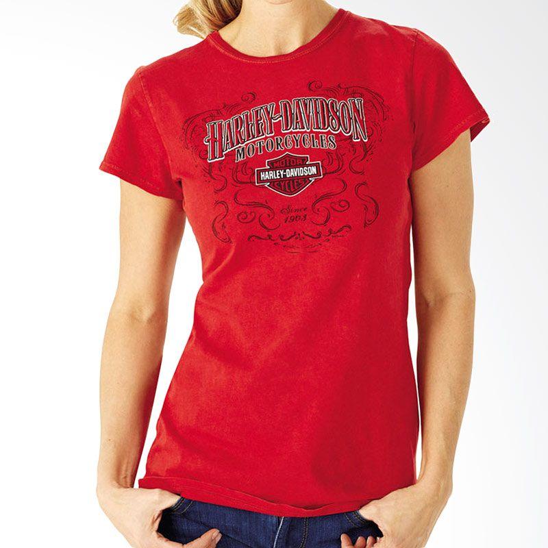 Harley Davidson Character Lds Mineral Dye Red Atasan Wanita