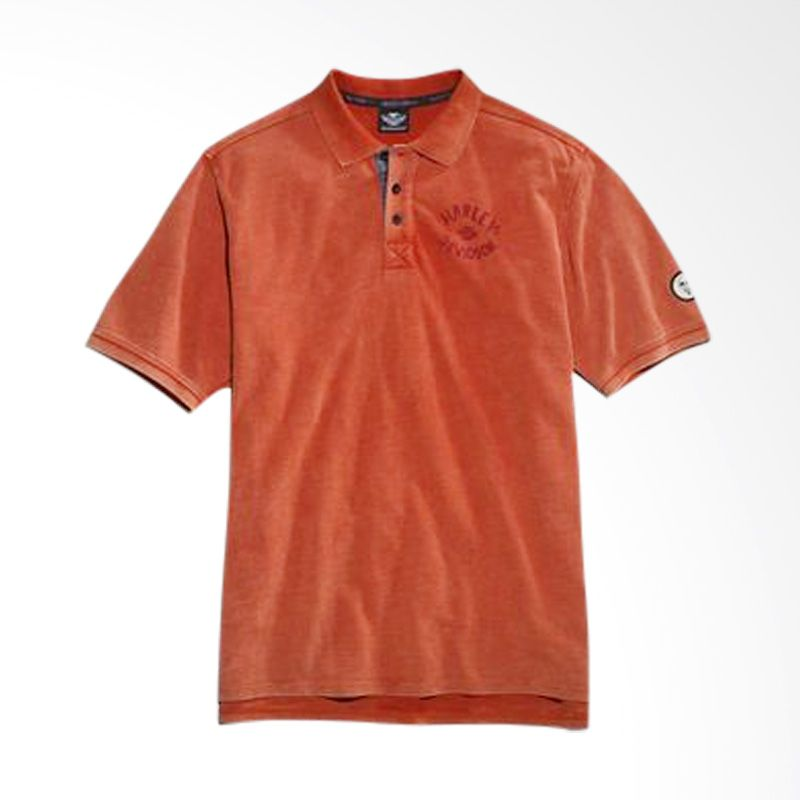 Harley Davidson Knit Orange Polo Shirt