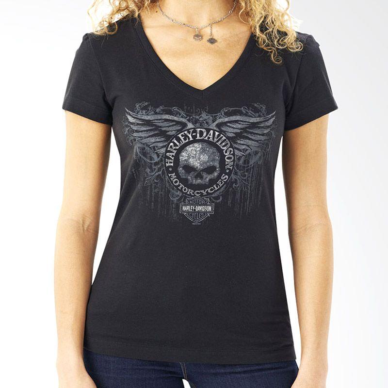 Harley Davidson Name Twirl Dbl V-Neck Black Atasan Wanita